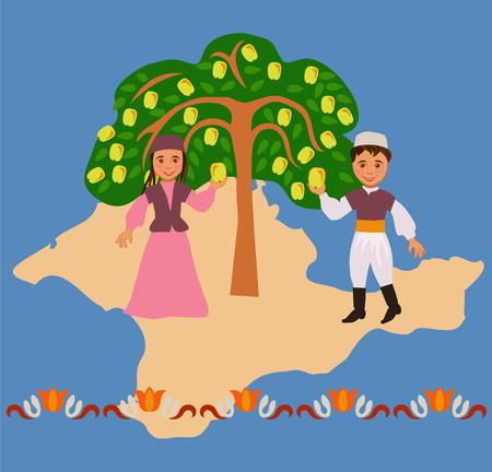 Boy and girl in the Tatar national costumes near a local apple varieties in the background silhouette of the Crimea