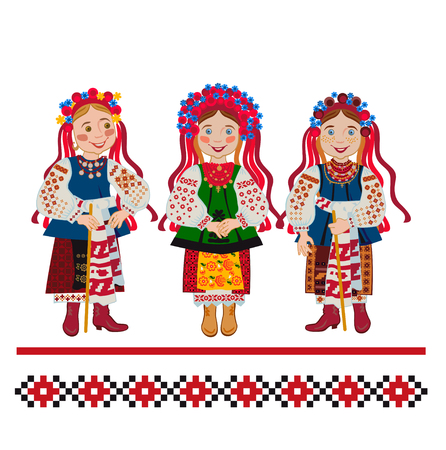 The bride and bridesmaids are invited to the wedding. Ukrainian customs and traditions Vettoriali