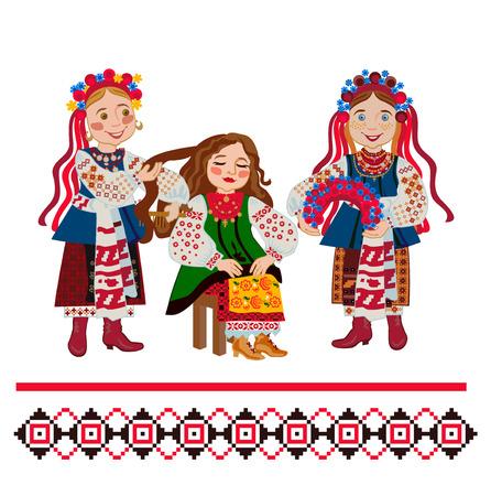 Ceremonia de boda ucraniana: vestir una corona de flores a la novia Ilustración de vector