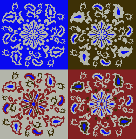 Set of oriental ornaments in different colors