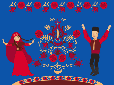 Dancing Crimean Tatar couple and the pomegranate Tree of Life on a blue background. Concept wedding card with a wish for wealth and many children. Çizim