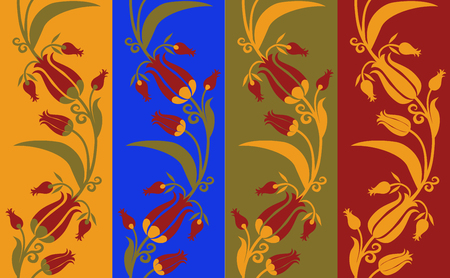 Set of pattern seamless with the tulips in different color options Çizim