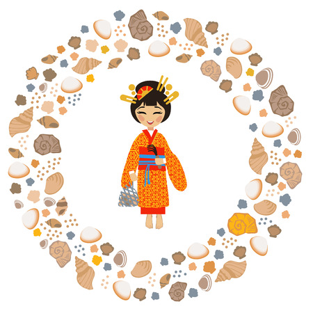 Siohigari, a Japanese tradition of collecting and admiring shells at low tide in summer Illustration