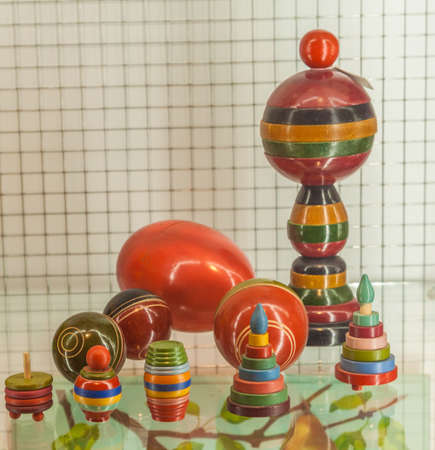 Kyiv, Ukraine - Feb 2, 2020: Wooden didactic toys of 50-60s for development of logic and motor skills in the Toy Museum, Kyiv, Ukraine Editorial