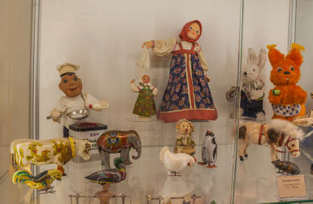 Kyiv, Ukraine - Feb 5, 2020: Mechanical, wind-up toys and inert from Germany and  USSR 40-80 years of 20th century in  in Toy Museum, Kyiv, Ukraine. Mass production Editorial