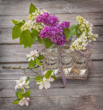 Beautiful Lilac with blooming branch of apple on a wooden background