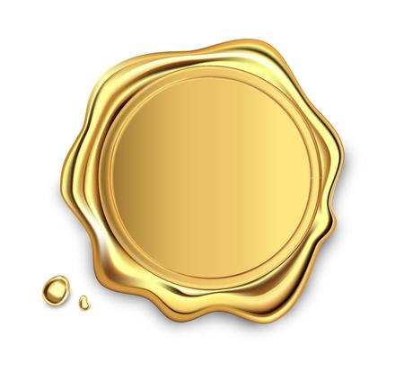 Sello de cera de oro sello de aprobación sellado conjunto de etiquetas retro. Etiqueta de garantía de calidad. Élite. Ilustración de vector