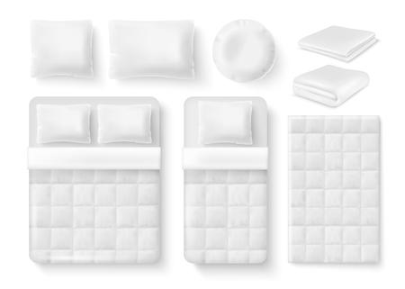 juego de cama blanco en blanco. Cama, almohada, ropa de cama, manta doblada y desplegada, plantillas realistas de funda nórdica.