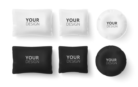 realistic 3d white and black pillow set closeup isolated on white background. Design template for graphics and mockup. Top view.