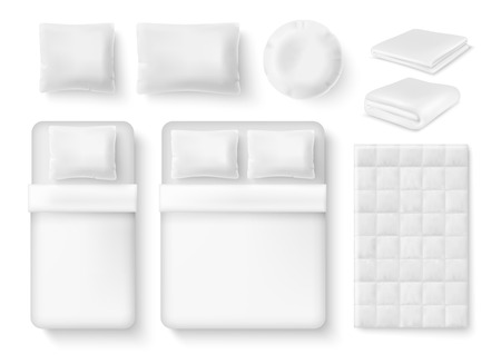 white blank bedding set. Bed, pillow, linen, folded and unfolded blanket, duvet cover realistic templates.