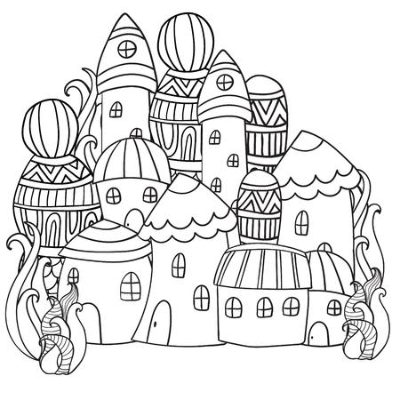 arboles blanco y negro: casas de la fantas�a de hadas en el bosque m�gico. Patr�n de libro para colorear. Modelo blanco y negro. Boceto de traza. Zentangle.
