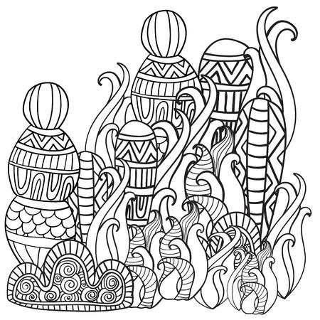 arboles blanco y negro: bosque m�gico de la fantas�a. Patr�n de libro para colorear. Modelo blanco y negro. Boceto de traza. Zentangle. Vectores