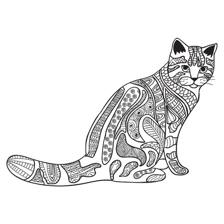 抗ストレス猫大人の塗り絵黒と白の手描きの背景。エスニック パターン印刷落書き。タトゥー, t シャツ デザイン, ロゴ, サインの禅もつれスタイル