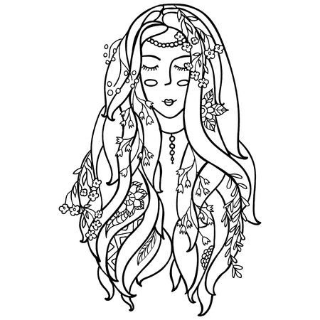 Vector Illustration Black and White Woman with flowers in her hair.coloring pages for adults. Coloring book.Card,print. zentagl, doodle style.