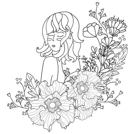 Ilustración Vectorial Negro Y Blanco De La Mujer Con Las Flores En ...