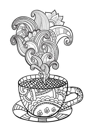 抽象的な装飾品とコーヒーまたは紅茶のカップをベクトル。大人の塗り絵の zentangle スタイルで描かれたイラストを手します。着色のページ。