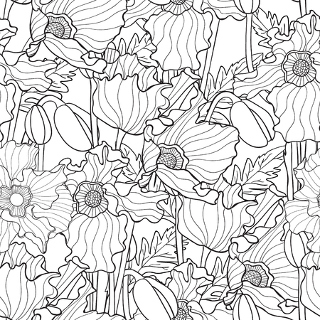 poppy flowers: Hand drawn artistic ethnic ornamental patterned floral frame in doodle, zentangle style for adult coloring pages, t-shirt or prints. Vector spring illustration with poppies.seamless pattern Illustration