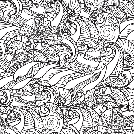 Coloring for adults. Seamless Pattern from wavesvector in white and black colors with. Can be used as adult coloring book, coloring page. Illustration