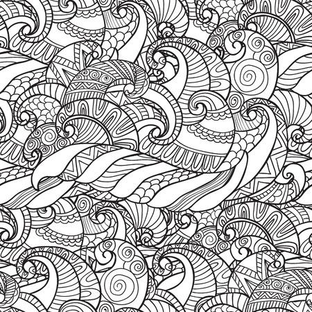 Het kleuren voor volwassenen. Naadloos Patroon van wavesvector in wit en zwart kleuren. Kan gebruikt worden als volwassene kleurboek, kleurplaat. Stock Illustratie