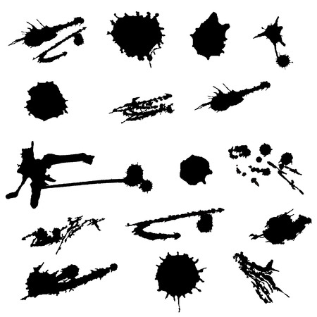 paint splat: Paint splat set.Paint splashes set for design use.Abstract vector illustration. Ink blot collection isolated on white background.