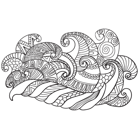 Colorieng book for adults. Coloring pages.Vector hand drawn outline abstract ornamental ethnic stripe background.