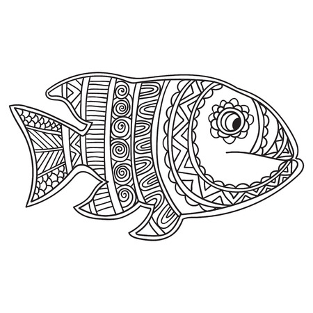 etno: Coloring book page for adults and child - zendala, design for relax and meditation.Black and white.Greeting Beautiful card with fish. Frame of animal made in vector. Etno Style. Fish Illustration for design, pattern, textiles.