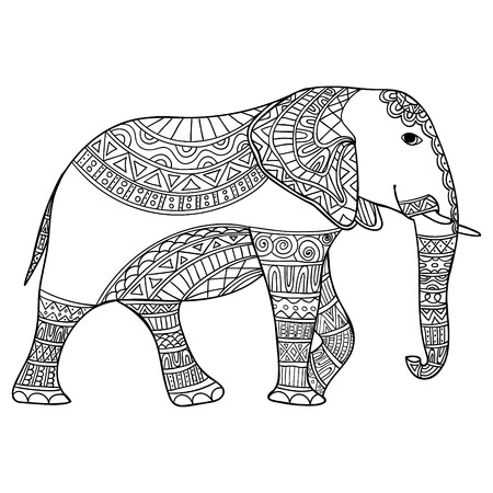 Elephant Anti Stress Coloring Book For Adults Black And White Hand Drawn Vector