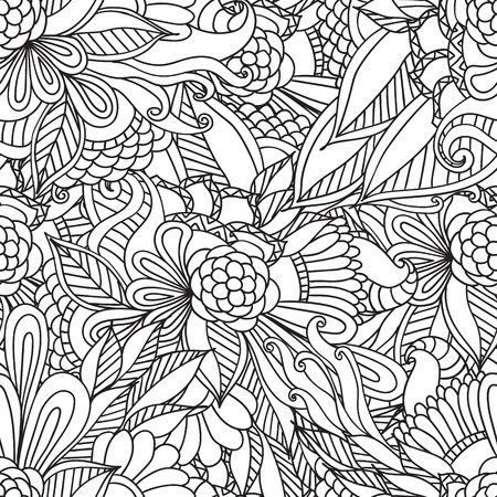 Hand drawn artistic ethnic ornamental patterned floral frame in doodle, zentangle style for adult coloring pages, t-shirt or prints. Vector spring illustration.seamless pattern