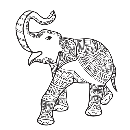 elephant anti-stress coloring book for adults. Black and white hand drawn vector. doodle print with ethnic patterns. Zen tangle style for tattoo, shirt design, logo, sign