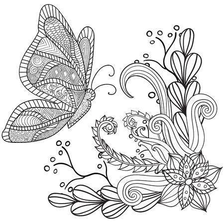 Hand getrokken artistieke etnische sier patroon floral frame met een vlinder in krabbel, zentanglestijl voor volwassen kleurplaten, tattoo, t-shirt of prints. Vector voorjaar illustratie.