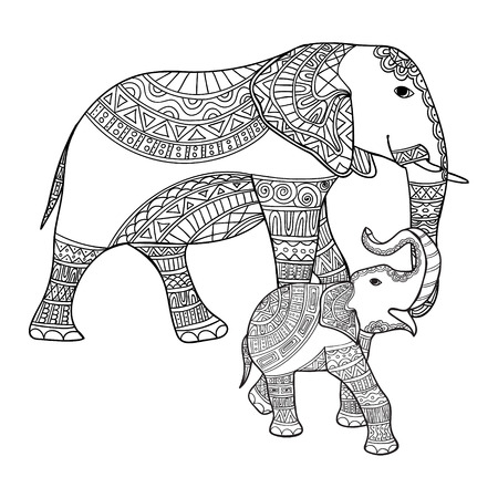 Big and small elephant anti-stress coloring book for adults. Black and white hand drawn vector. doodle print with ethnic patterns. Zen tangle style for tattoo, shirt design, logo, sign. Mother elephant and baby elephant Illustration