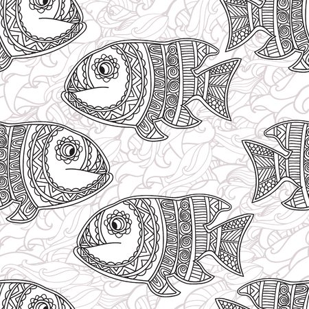 ornamental fish: Coloring pages for adult. Coloring book. Seamless abstract hand-drawn ornamental fish with waves pattern. Zentangle ornamental fish background. Doodl  style.