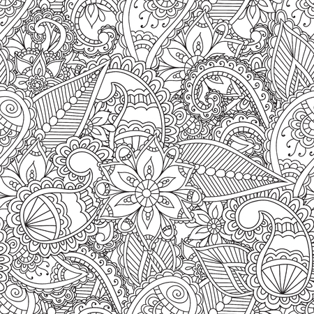 mhendi: Coloring pages for adults. Seamless pattern.Henna Mehndi Doodles Abstract Floral Paisley Design Elements, Mandala,Vector Illustration. Coloring book. Coloring pages for adults.