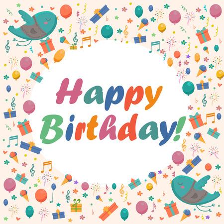Tarjeta de cumpleaños con los pájaros lindos con las flores y globos, regalos Ice Cream, confeti.