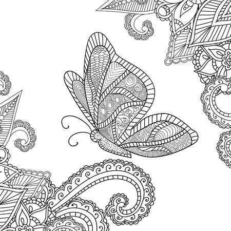 Dibujos para colorear para adults.Henna Mehndi Doodles Resumen floral de Paisley Elementos de diseño con una mariposa, Ilustración Mandala, Vector. Libro de colorear. Colorear páginas para adultos.