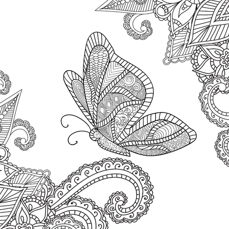 Coloring pages for adults.Henna Mehndi Doodles Abstract Floral Paisley Design Elements with a butterfly, Mandala,Vector Illustration. Coloring book. Coloring pages for adults.