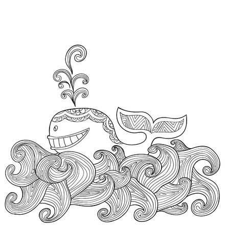 Hand Zentangle Delphin Mit Scrolling Meer Welle Gezogen Für Malbuch ...
