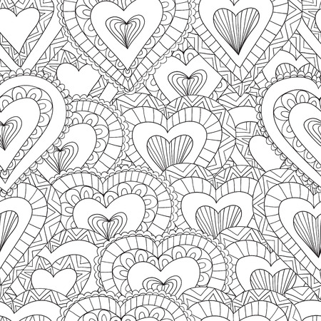 hand drawn seamless pattern of ornamental hearts in doodle zentangle style for adult coloring pages - Design Coloring Pages For Adults