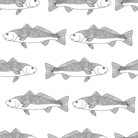 sturgeon: Detailed ornamental sketch of a fish, Hand drawn zentangle for adult anti stress. Coloring page with high details isolated on white background. Zentangle pattern for relax and meditation. seamless pattern Illustration