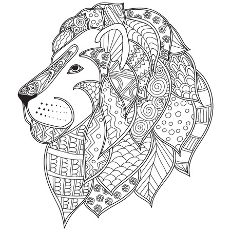 Hand drawn ornamental outline lion head illustration decorated with abstract doodles. Coloring pages for adults book.
