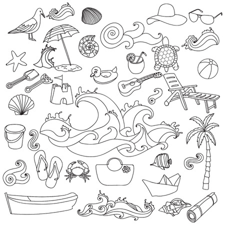 recliner: Sketchy vector hand drawn Doodle cartoon set of objects and symbols on the Summer beach. Coloring pages for adults.