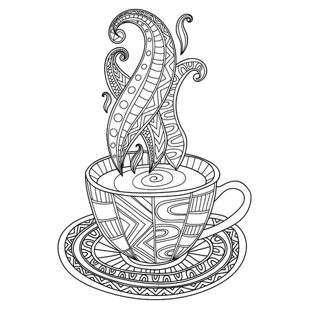 Vector coffee or tea cup with abstract ornaments. Hand drawn illustration for coloring book for adult. Coloring pages.
