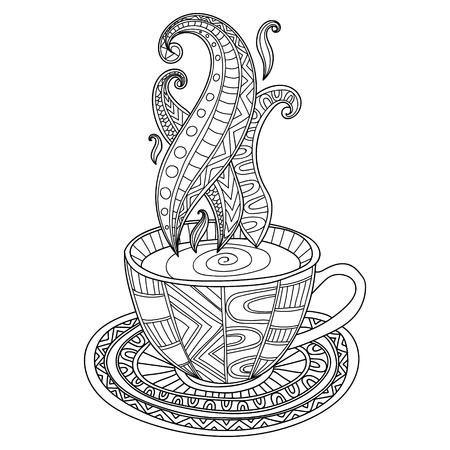Vector koffie of thee beker met abstracte ornamenten. Hand getrokken illustratie voor kleurboek voor volwassen. Kleurplaten. Stock Illustratie