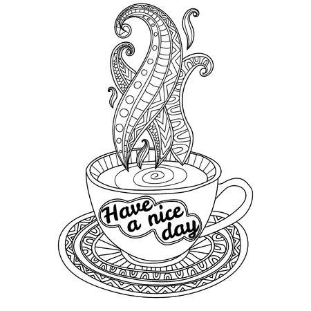 Vector koffie of thee beker met abstracte ornamenten en belettering Een mooie dag verder. Hand getrokken illustratie voor kleurboek voor volwassen. Kleurplaten.