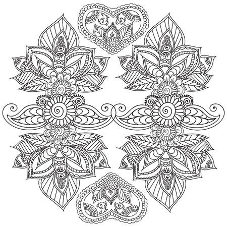 Colorear Páginas Para Adultos. Henna Mehndi Doodles, Abstract Floral ...