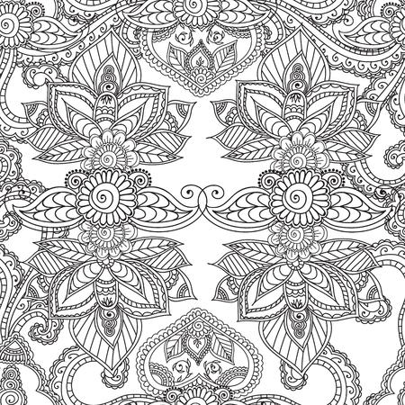 Colorear Páginas Para Adultos. Henna Mehndi Doodles Resumen Floral ...