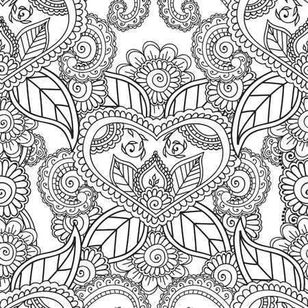 Coloring pages for adults. Seamless pattern.Henna Mehndi Doodles,abstract Floral Paisley Design Elements, Mandala,Vector Illustration. Coloring book.