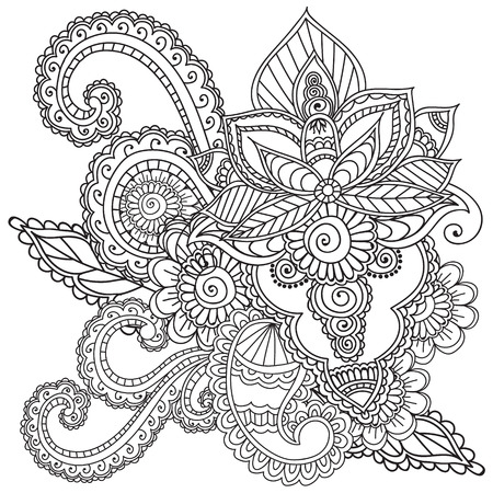 Coloring Pages For Adults.Henna Mehndi Doodles Abstract Floral ...