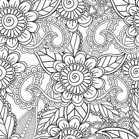 Colorear Páginas Para Adultos. Sin Costura Pattern.Henna Mehndi ...