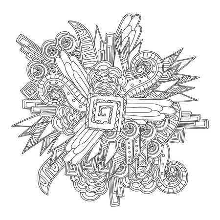 Coloring page for sdults coloring book. Black and white geometric pattern. Ornate doodle texturewith abstract. Can be used for pattern fills, web page background, surface textures.